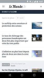 Accueil de l'app Le Monde